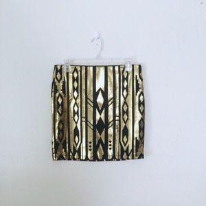 Forever 21 Aztec Gold Mini Skirt